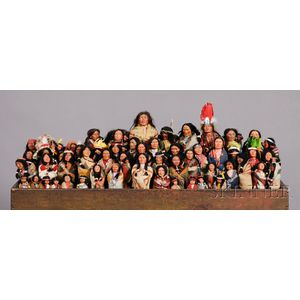 Collection of Fifty-six Skookum Indian Character Dolls