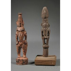 Two New Guinea Carved Wood Fetish Figures