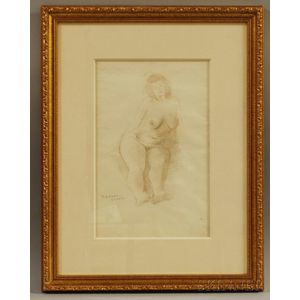 Raphael Soyer (American, 1899-1987)      Nude Woman Sitting.