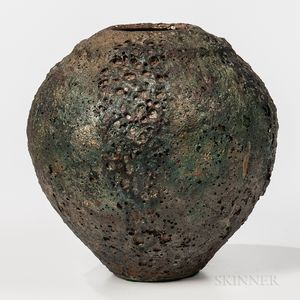 Raku-fired Metallic Glaze Vase