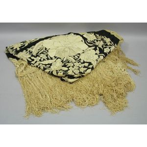 Black and White Embroidered Silk Piano Shawl