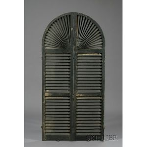 Black-painted Arched Louvered Pine Shutter