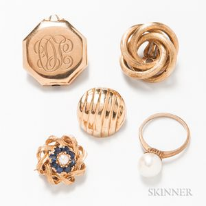 Five Pieces of 14kt Gold Jewelry