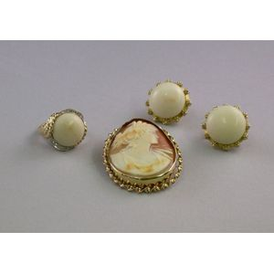 14kt Gold, Diamond, and Coral Ring, a Pair of 18kt Gold and Coral Earrings, and a 10kt Gold Framed Shell Carved...