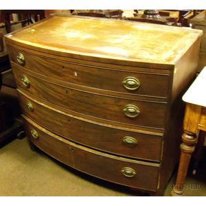 Federal Mahogany Veneer Bowfront Four-Drawer Chest.