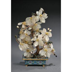 Jade Flowers in a Cloisonne Enameled Planter