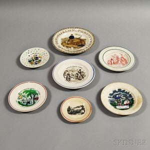 Seven Small Transfer-decorated Plates