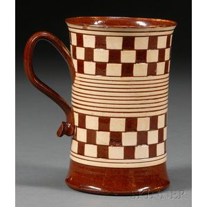 Checkered Red Earthenware Pint Mug