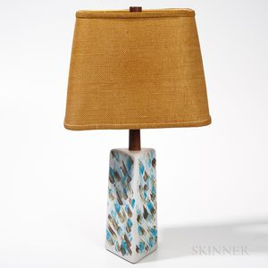 Martz Pottery and Teak Table Lamp with Woven Fiber Shade