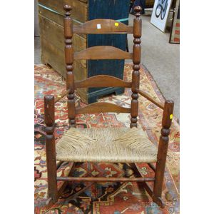 18th Century Turned-wood Slat-back Rocking Armchair with Woven Rush Seat.