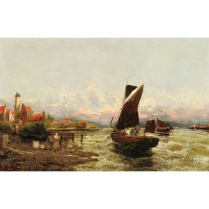 Georg Fischhof (Austrian, 1859-1914)      Shore with Fishermen