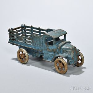 Blue-painted Cast Iron Toy Truck