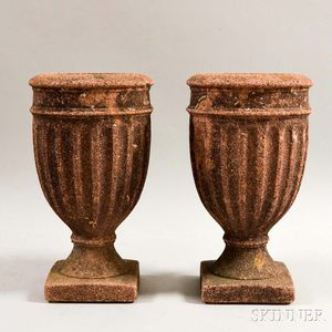 Pair of Purple Concrete Garden Urns