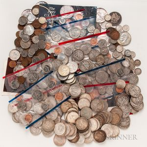 Group of Mostly American Silver Coins and Currency
