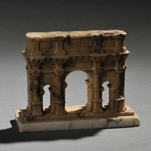 Grand Tour Siena Brocatelle Marble Model of the Arch of Constantine