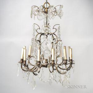 Twelve-light Brass and Crystal Chandelier