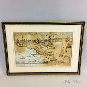 Framed Reproduction Paul Revere Engraving of the British Landing in Boston