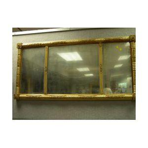 Federal Gilt Gesso Tri-part Overmantel Mirror.