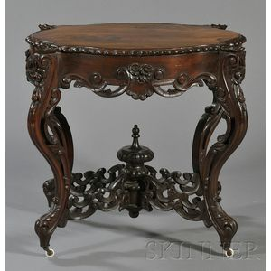 Rococo Revival Carved Rosewood and Rosewood Veneer Center Table