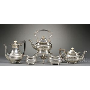 Four Piece Edward VII Silver Tea Set with Similar George V Coffeepot