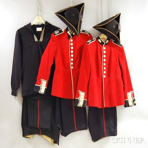 Two Mid-20th Century British Army Wool Dress Uniforms and a Naval Tunic