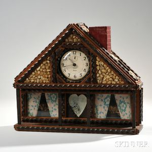 House-shaped Tramp Art Clock Case