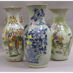 Two Chinese Export Porcelain Vases and a Chinese Porcelain Blue and White Floral Decorated Vase.
