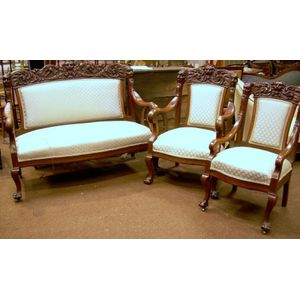 Three-piece Victorian Upholstered Carved Walnut Parlor Suite