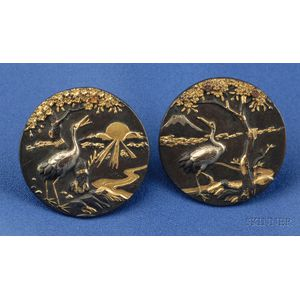 Pair of Shakudo Cuff Buttons