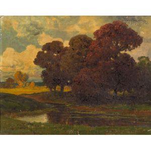 Alois Arnegger  (Austrian, 1879-1967)      Lily Pond in Autumn