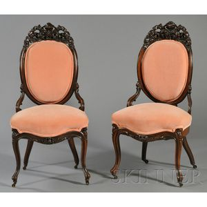 Pair of Rococo Revival Carved and Laminated Rosewood Side Chairs