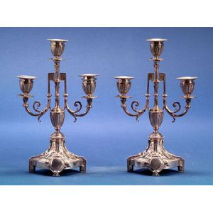 Pair of French .950 Silver Neoclassical Style Three Light Candelabra