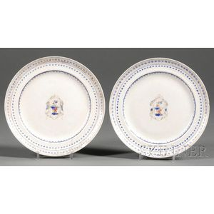 Two Small Chinese Export Porcelain Oval Armorial Plates