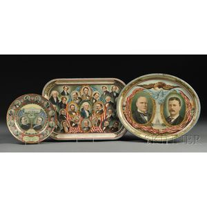 Three Presidential Lithographed Tinware Items