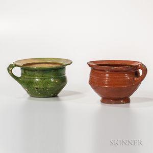 Two Glazed Earthenware Chamber Pots