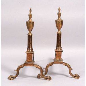 Pair of Bell Metal Urn-top Andirons