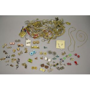 Miscellaneous Lot of Costume Earrings and Necklaces.