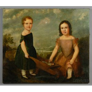 American School, 19th Century      Two Girls Playing with a Doll in aWheelbarrow.