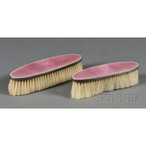 Two Sterling and Pink Basse Taille Enamel Vanity Brushes