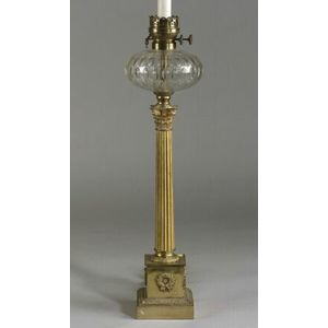 Empire Revival Brass Oil Lamp Base