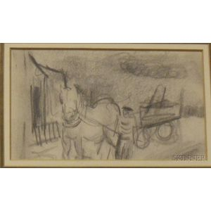 Framed Graphite on Paper Sketch of a Horse and Cart by Sol Wilson   (American, 1896-1974)