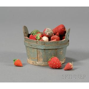 Miniature Blue-painted Wooden Tub Filled with Strawberry-shaped Pincushions   and Emories
