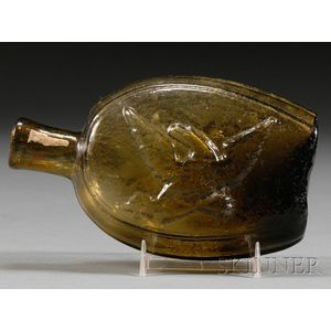 Olive Yellow Eagle Glass Flask