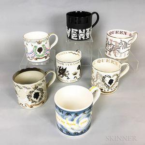 Seven Wedgwood Guyatt Design Ceramic Mugs