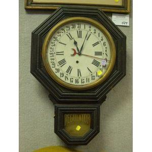 E. Ingraham Molded Oak Regulator Wall Clock.