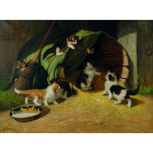 Sidney Lawrence Brackett (American, 1852-1910)      Kittens in the Barnyard