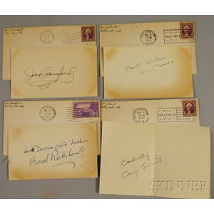 Cary Grant, Henry Fonda, Joan Crawford, and Basil Rathbone Autographs