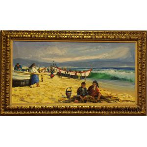 Framed Oil on Canvas Beach Scene by Augusto Gomes Martins (Portuguese,      b. 1922)