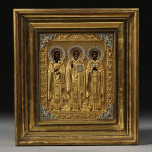 Russian Icon with Riza Depicting Three Patron Saints