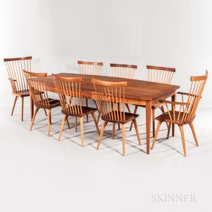 Thomas Moser Boat-top Dining Table and Eight Eastward Chairs